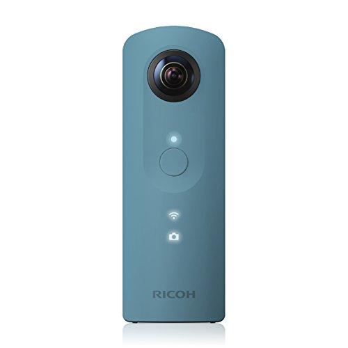 Ricoh Theta SC blau 360 Grad Vollsphärenkamera (2x 12 MP, Full-HD-Video, 8GB interner Speicher, lichtstarkes Objektiv F 2.0)