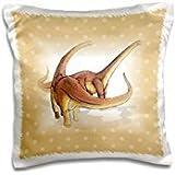 Florene - Childrens Art V - Print of Alamosaurus Dinosaurs On Tan Dots - 16x16 inch Pillow Case