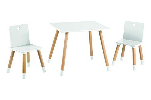 roba Kinder Sitzgruppe, Kindermöbel Set aus 2 Kinderstühlen & 1 Tisch, Sitzgarnitur Holz, weiß lackiert