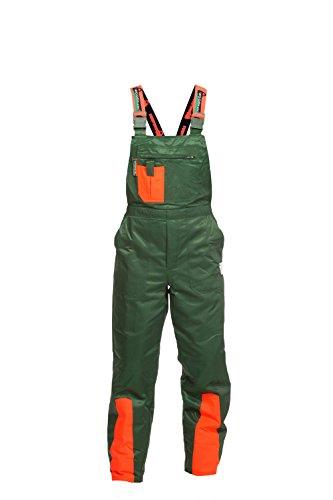 WOODSafe Schnittschutzhose Klasse 1, kwf-geprüfte Forsthose, Latzhose grün/orange, Herren - Waldarbeiterhose Größe 54