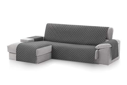 Textilhome - Copridivano Salvadivano Chaise Longe Malu - Color Grey -BRACCIOLO Sinistra - Protezione per divani Imbottiti - Dimencione 240cm -(Visto di Fronte).