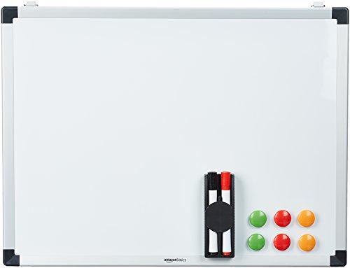 AmazonBasics - Lavagna magnetica bianca, cancellabile a secco, con supporto porta-pennarelli e bordi...