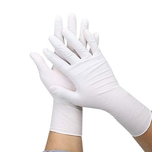 BATH CUBE Latex Medical Examination Disposable powdered Hand Gloves (Medium, White) -30 Pieces