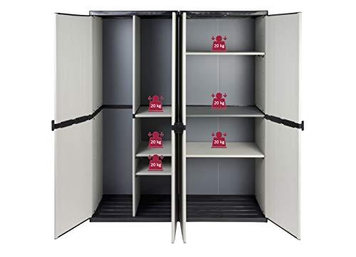Vorteilspack: 2 Schränke aus robustem Kunststoff in hellem Grau. Ein Universalschrank mit 3 Böden, ein Spindschrank mit Besenfach. Jeder Schrank mit Maß: 68 x 39,5 x 168 cm. TOPP!