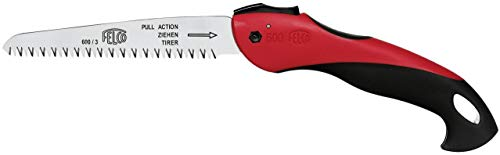 The Felco 600 folding pull-stroke pruning saw is a good sizeable tool and light to carry at all times. A non-slip handle ensures it is comfortable in hand even if it gets wet and the turbo-cut saw cuts exceptionally good. It is one of the durable saws available since it has the chrome plating that makes it rust-resistant. The shape of it also ensures no clogging or sap build up. The fact that all the parts can be replaced also makes it a standout product.
