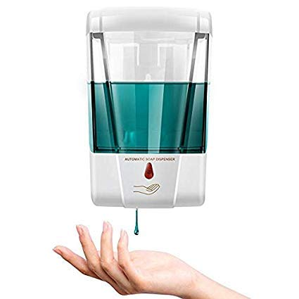 iTradeIMEX Battery Powered 600ml Wall-Mount Automatic IR Sensor Soap Dispenser Touchless Handsfree Kitchen Soap Lotion Pump for Kitchen Bathroom
