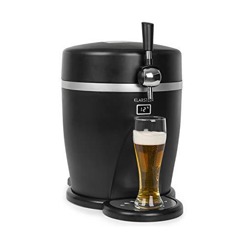 Klarstein Tap2Go dispensador de cerveza portátil 2 en 1 - para barriles de 5 litros, nevera de 13 litros, para casa y para el coche, temperatura fría hasta los 3 °C, enfriamiento termoeléctrico, negro