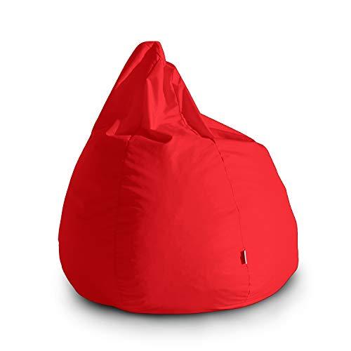 Avalon Pouf Poltrona Sacco Grande Bag L Jive 80x80x100cm Made in Italy in Tessuto antistrappo Imbottito Colore Rosso