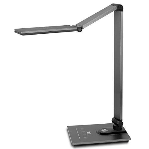 LED Schreibtischlampe, LE 19W Metall Tageslichtlampe, Touch-Control Tischlampe mit Timmer- und Speicherfunktion, Dimmbare Büro Leuchte mit 5V/2A USB-Anschluss, augenschonende LED, Einstellbare Hellig