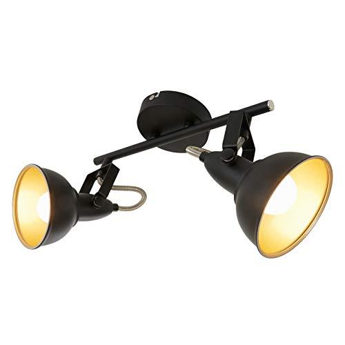 Briloner Leuchten Faretti retro 2, vintage, orientabili, luci da soffitto, nero e oro, max. 40 W,...