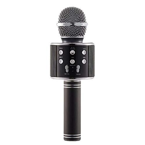 ZYG.GG Inalámbrico Bluetooth Karaoke Micrófono Portátil Familia KTV Función Anti-oído en Tiempo Real Apoyo Tarjeta TF Adecuado para iPhone,PC y Todos los teléfonos Inteligentes,Black