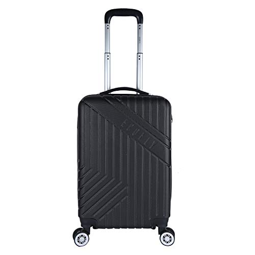 Fly Eco Fly Ace 58 Cms ABS Hardsided Black Cabin Luggage 4 Wheels Suitcase Trolley Bags for Travel
