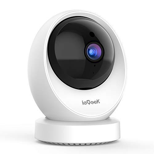 ieGeek 1080P Telecamera Wi-fi Interno, Videocamera Sorveglianza Interno Wifi, Telecamera Ip,Visione Notturna a Infrarossi, Baby Monitor con Motion Tracking, Videosorveglianza, Audio Bidirezionale