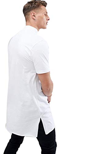 PAUSE White Solid Round Neck Slim Fit Half Sleeve Men's T-Shirt 5