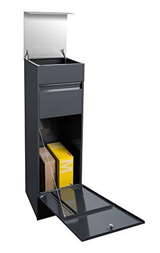 Frabox® Design Paketkasten NAMUR anthrazitgrau RAL 7016 / Edelstahl mit Hausnummer & Namen - 3