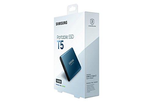 Samsung T5 MU-PA500B/EU SSD Portatile da 500 GB, USB 3.1 Type-C, Fino a 540 MB/s, Blu