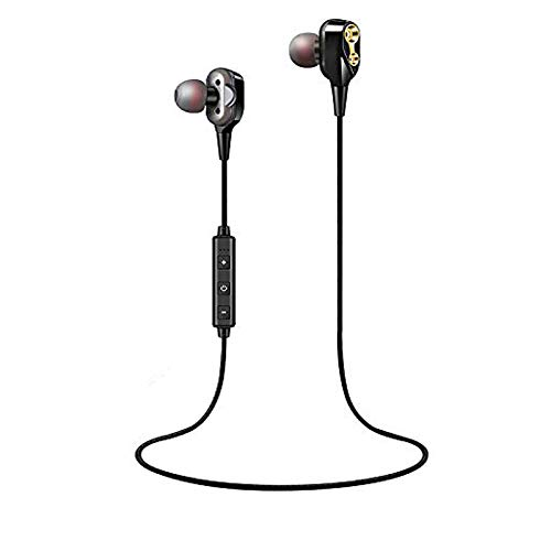 XaudiO Boom Bluetooth Headphones Extra Bass with Dual Drivers Sport Headset Earphones with Mic and Sweatproof - Wireless Bluetooth Earbuds for Running (Black)