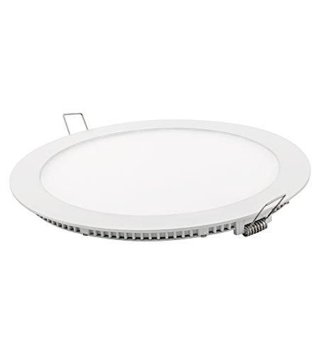 DavLED 23232 - Downlight LED redondo plano (disponible en varios colores y luminosidades), aluminio, color blanco, 18W, luz fría