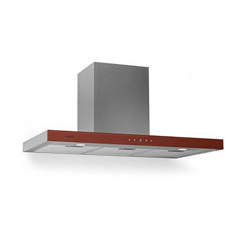 Klarstein - Cappa Aspirante, 650m³/ h, Classe C, Vetro Frontale, Rosso (Bon Vivant Red), 90 cm