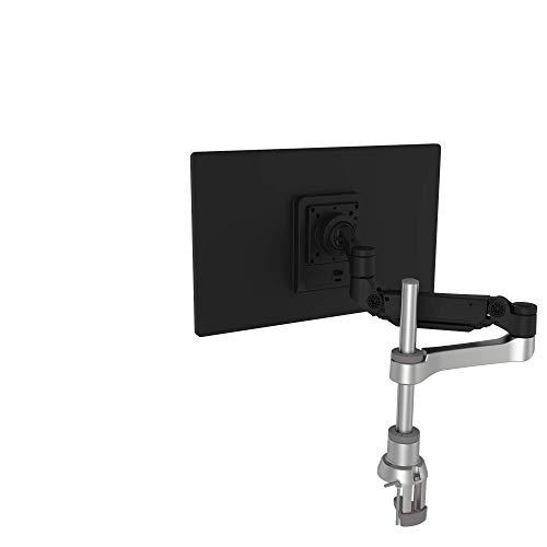 R-Go Caparo 4 D2 nachhaltiger Monitor Arm, Tischhalterung, Gasdruckfeder, 3-9 kg Tragkraft, schwarz/silber, geringer CO2 Fussabdruck
