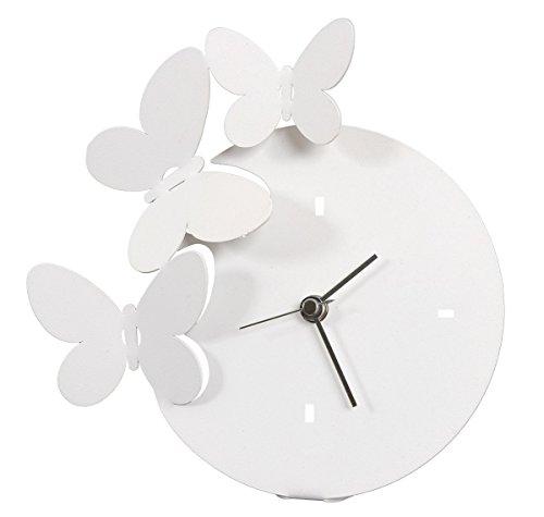 Artes y Métiers-Reloj de Mesa, Diseño de Mariposas, Color Blanco