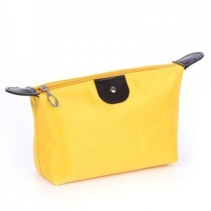 FOK 1 Pc Lady MakeUp Pouch Cosmetic Make Up Bag Clutch Hanging Toiletries Travel Kit Jewelry Organizer Casual Purse (Color-Yellow)