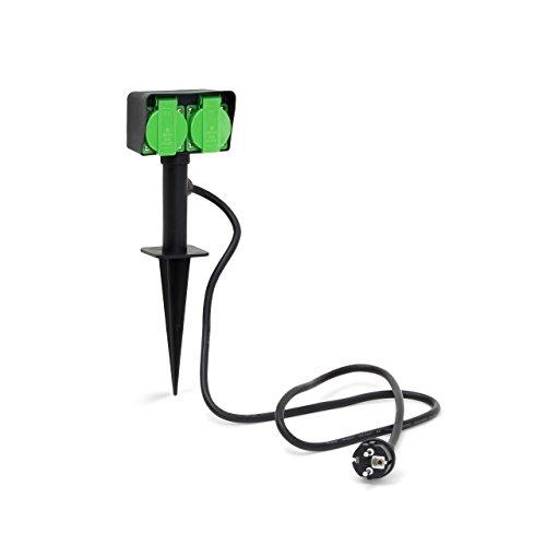 Relaxdays Gartensteckdose, Außensteckdose mit 2-facher Buchse, spritzwassergeschützt, HBT: 35 x 11 x 6,5cm, schwarz/grün