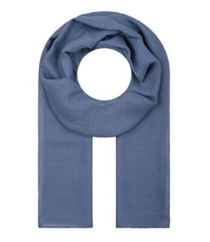 Majea Tuch Lima schmal geschnittenes Damen-Halstuch leicht uni einfarbig dünn unifarben Schal weich Sommerschal Übergangsschal (dark denim)