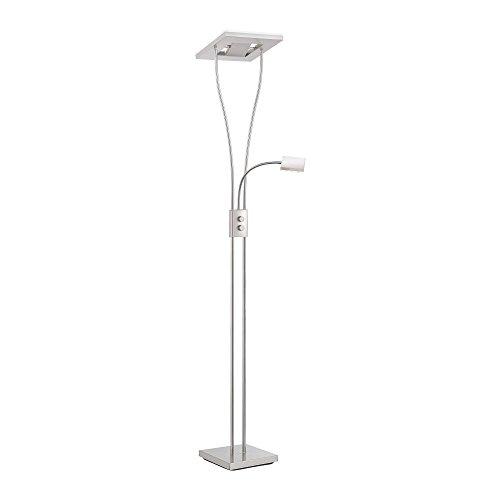 LED-Deckenfluter dimmbar mit flexibler Leselampe, zweigeteilter Fluterkopf Stehleuchte Wohnzimmerlampe Standleuchte LED-Fluter, Leseleuchte Standleuchte 1850 Lumen warmweiß quadratisch