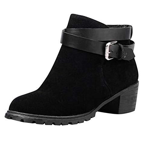 MOIKA Damen Boots Mode Arbeiten Sie kurze Knöchel-Stiefel der Frauen  Schnallen-Bügel-mittlere Ferse-Winter-römische Schuhe um(250 41,Schwarz) 55616f2e0f