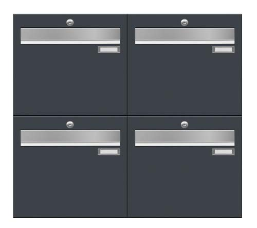 4-Fach Briefkastenanlage LUIS von Frabox in RAL 7016 anthrazitgrau