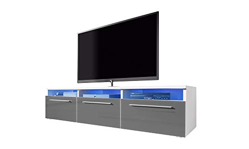 Selsey LAVELLO - Mobile TV con Armadietti/Porta TV con Illuminazione LED/Bianco con Frontali Grigi...