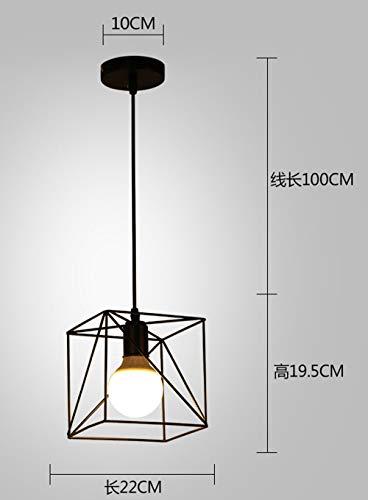 Lightoray Lampada a sospensione Ferro da stiro quadrato nero Plafoniera lampadario per Bar...