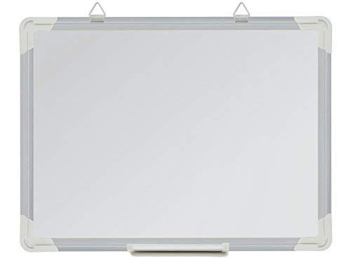 Lavagna magnetica con vassoio penna e cornice di alluminio 40 x 30 cm White