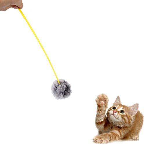 katzeninfo24.de 1 x Katze Kaninchen Haar Ball Spielzeug Charmeur Zauberstab Pole Teaser Macht Katze Lustige