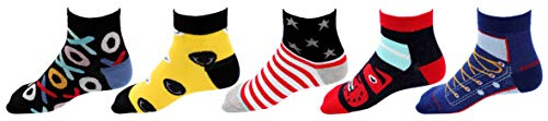 RC. ROYAL CLASS Ankle Soft Cotton Multicolored Socks for Boys & Girls (pack of 5 pairs) (8-9 Years)