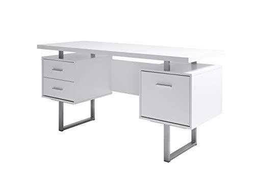 Amazon Marke -Movian Vättern - Schreibtisch mit 3 Schubladen, 152,4x60x76cm, Weiß