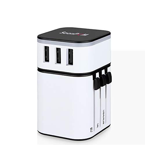 Universal Reiseadapter Internationaler Netzadapter, Europäischer Steckerkonverter Weltweit Alles in Einem mit 3 USB Charging Ports US nach Europa Steckeradapter für US UK EU AU Asien (Weiß)