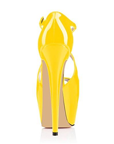 53d02dc9c0 elashe- Scarpe da Donna – 15CM Scarpe col Tacco Peep Toe – Classiche Criss  Cross Strap Scarpe con Plateau