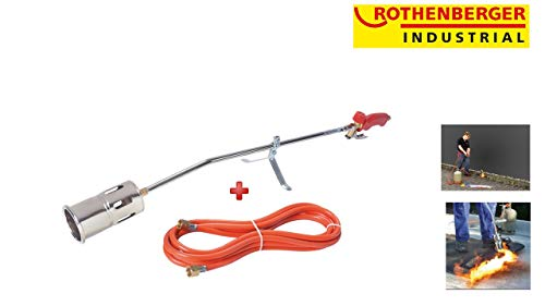 Rothenberger Industrial 030954E Hochleistungsbrenner Romaxi Premium Inkl. 5M Propan Gas Schlauch, Unkraut Vernichter, Bitumenbahnen, Folien Verschweißen