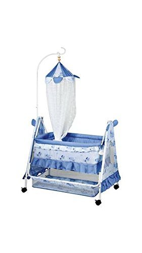 Comfort Store Crib Mosquito Net with Swing and Multiple Functions (Sky Blue)