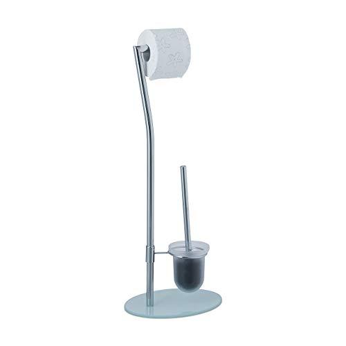 Relaxdays Garnitur Milchglas, Toilettenpapierhalter, Bürste, WC-Bürstenhalter, hygienischer Behälter, 71 cm, Chrom