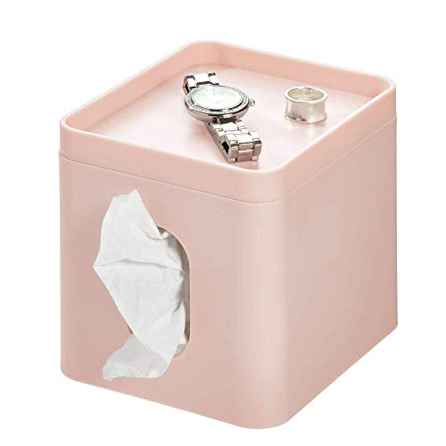 InterDesign Tissue Paper Holder Cover Box with Tray for Jewellery and Makeup - Bathroom Holder for Vanity, Countertops, Desk, Office, Dorm - Pink