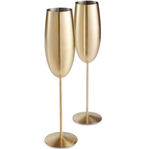 VonShef Set di 2 flute da champagne in oro spazzolato – Acciaio inox infrangibile