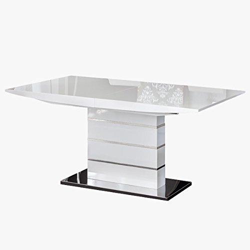 Mesa de Comedor Extensible Estela en Lacado Alto Brillo Blanco y pie Central en Laca y Cromo