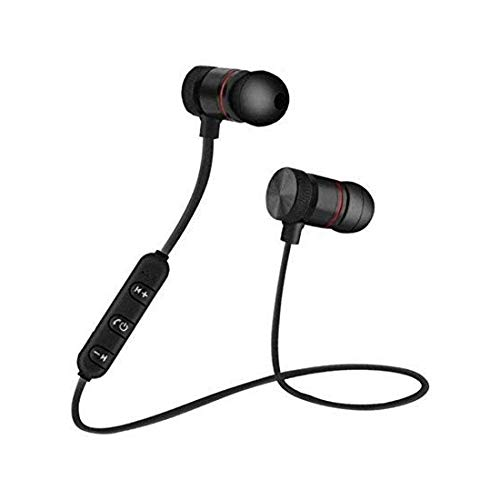 Saleshop365 Wireless Magnet Bluetooth Earphone Headphone with Mic, Sweatproof Sports Headset, Best for Running and Gym, Stereo Sound Quality for All Smartphones