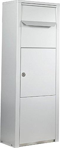 MEFA Paketpostkasten Rowan (471) Weißaluminium RAL 9006 Standbriefkasten Briefe+Pakete Entnahme vorne