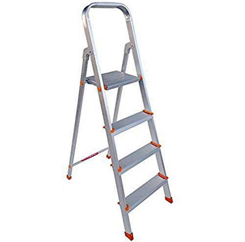 Paras Corporation 4 Step Foldable Aluminium Ladder for Home Use(Silver)