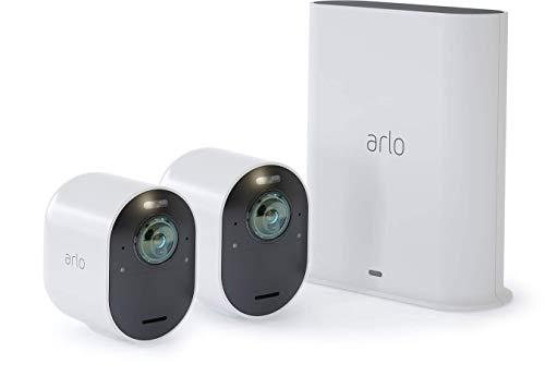 Arlo Ultra Vms5240 Sistema di Videosorveglianza Wi-Fi con 2 Telecamere di Sicurezza 4K, Audio 2 Vie, Luce, Bluetooth, Visione 180°, Interno/Esterno, Funziona con Alexa e Google Wi-Fi, Kit Base + 2 Cam