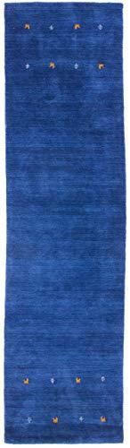 CarpetFine: Tappeto Gabbeh Uni Passatoia 75x240 cm Blu - Monocromatico